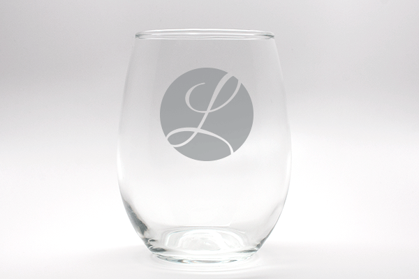 Engraved Outline Monogram Stemless Wine Glass wedding favors