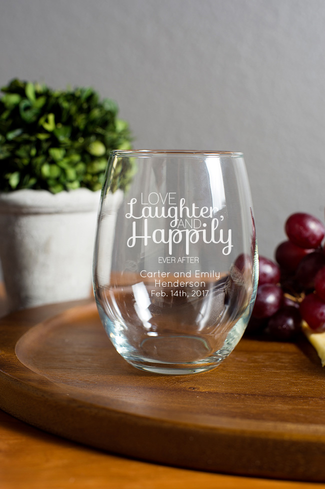 Engraved 15oz Stemless Wine Glass wedding favors