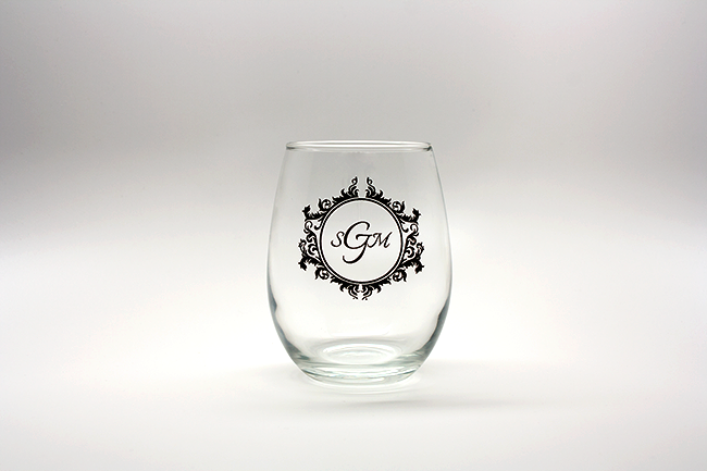 Vintage Monogram Personalized Stemless Wine Glasses - 9 oz wedding favors