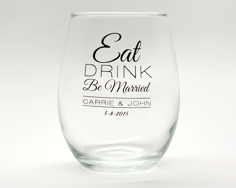 Eat, Drink, Be Married Personalized Stemless Wine Glasses - 9 oz wedding favors