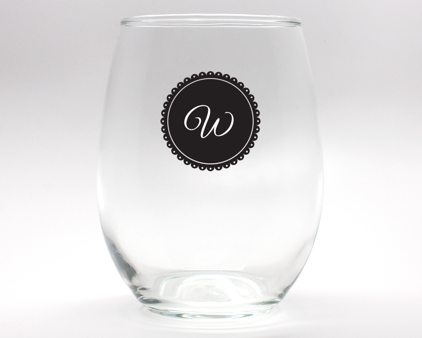 Doily Monogram Personalized Stemless Wine Glasses - 9 oz wedding favors